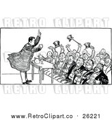 Vector Clip Art of a Black and White Crowd and Speaker by Prawny Vintage