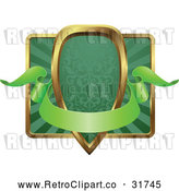 Vector Clip Art of a Blank Retro Green and Gold Banner Shield or Frame by AtStockIllustration