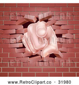 Vector Clip Art of a Cartoon White Hand Pointing Finger While Breaking Through Brick Wall by AtStockIllustration