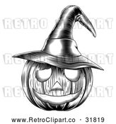 Vector Clip Art of a Carved Retro Halloween Jackolantern Pumpkin Featuring a Witch Hat by AtStockIllustration