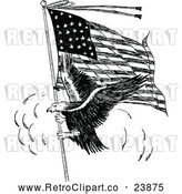 Vector Clip Art of a Confident Retro Eagle Representing the American Flag in Black and White by Prawny Vintage