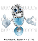 Vector Clip Art of a Determined Retro 3d Silver Blue Microphone with Thumb up While Smiling by AtStockIllustration