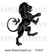 Vector Clip Art of a Determined Retro Black Lion Forwardly Rearing up Aggressively in Confidence by AtStockIllustration