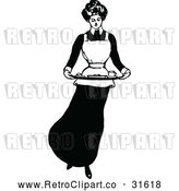 Vector Clip Art of a Domestic Retro Housewife Maid Carrying Food Platter by Prawny Vintage