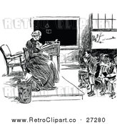 Vector Clip Art of a Female Retro Teacher with Students in Classroom by Prawny Vintage