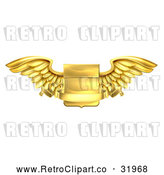 Vector Clip Art of a Gold Retro Heraldic Winged Shield with Blank Banner Body Notice by AtStockIllustration