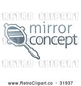 Vector Clip Art of a Gradient Retro Hand Mirror - Sample Text by AtStockIllustration