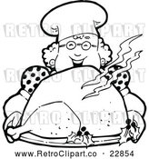 Vector Clip Art of a Happy Retro Chef Woman Holding a Roasted Turkey by Prawny Vintage