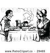 Vector Clip Art of a Happy Retro Couple Eating a Meal by Prawny Vintage