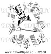 Vector Clip Art of a Happy Retro Magician Boy with Wand by Picsburg