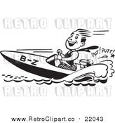 Vector Clip Art of a Happy Retro Man Driving a Speed Boat by BestVector