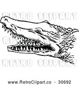 Vector Clip Art of a Hostile Retro Crocodile with Sharp Teeth by Prawny Vintage