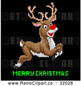 Vector Clip Art of a Pixelated Rudolph Red Nosed Reindeer Leaping over Merry Christmas Text by AtStockIllustration