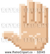 Vector Clip Art of a Pixelized Retro 8-Bit Styled Hand Gesturing Stop Sign Language by AtStockIllustration