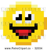 Vector Clip Art of a Pixelized Retro Smiling 8-Bit Emoji Smiley Face by AtStockIllustration