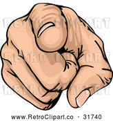 Vector Clip Art of a Pointing Retro White Hand by AtStockIllustration