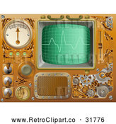 Vector Clip Art of a Retro 3d Brass Media Player by AtStockIllustration