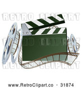 Vector Clip Art of a Retro 3d Clapper Board with Film Strips and Reels by AtStockIllustration