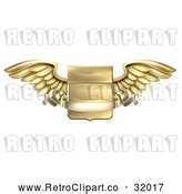 Vector Clip Art of a Retro 3d Gold Heraldic Winged Shield with a Blank Banner Ribbon by AtStockIllustration