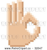 Vector Clip Art of a Retro 8 Bit Pixel Art Styled Hand Gesturing Okay by AtStockIllustration