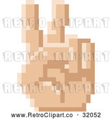 Vector Clip Art of a Retro 8 Bit Pixel Art Styled Hand Gesturing Peace by AtStockIllustration