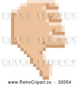 Vector Clip Art of a Retro 8 Bit Pixel Art Styled Hand Giving a Thumb down by AtStockIllustration