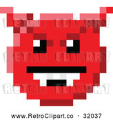 Vector Clip Art of a Retro 8-Bit Devil Smiley Face by AtStockIllustration