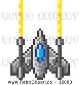Vector Clip Art of a Retro 8-Bit Pixelized Spaceship Shooting Laszer Beams by AtStockIllustration