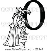 Vector Clip Art of a Retro Alphabet Letter 'O' Beside Mother and Daughter by Prawny Vintage