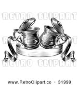 Vector Clip Art of a Retro Black and White Beer Steins Together in a Toast over a Ribbon Banner by AtStockIllustration