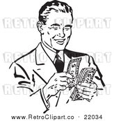 Vector Clip Art of a Retro Black and White Businessman Counting His Cash by BestVector
