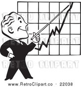 Vector Clip Art of a Retro Black and White Businessman Discussing a Chart by BestVector