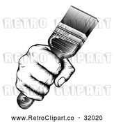 Vector Clip Art of a Retro Black and White Fist Hand Strongly Gripping a Paintbrush by AtStockIllustration