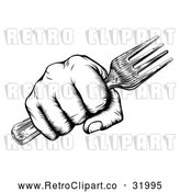 Vector Clip Art of a Retro Black and White Fisted Hand Holding a Fork by AtStockIllustration