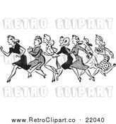 Vector Clip Art of a Retro Black and White Line of Running Shopping Women by BestVector