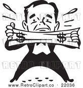 Vector Clip Art of a Retro Black and White Man Trying to Stretch a Dollar by BestVector