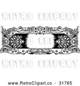 Vector Clip Art of a Retro Black and White Rococo Frame by AtStockIllustration