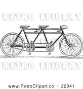 Vector Clip Art of a Retro Black and White Tandem Bicycle by BestVector