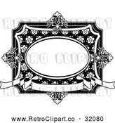 Vector Clip Art of a Retro Black and White Vintage Floral Frame by AtStockIllustration