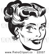 Vector Clip Art of a Retro Black and White Woman's Face with Her Hair up by BestVector
