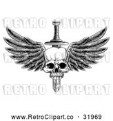 Vector Clip Art of a Retro Black Dagger Through a Winged Skull by AtStockIllustration