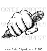 Vector Clip Art of a Retro Black Fisted Hand Holding a Pencil with Human Strength and Confidence by AtStockIllustration