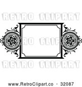Vector Clip Art of a Retro Black Floral Frame by AtStockIllustration