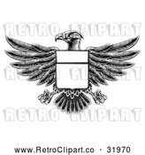 Vector Clip Art of a Retro Black Heraldic Coat of Arms American Bald Eagle with a Blank Shield Body by AtStockIllustration