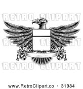 Vector Clip Art of a Retro Black Heraldic Coat of Arms American Bald Eagle with a Shield and Blank Banner by AtStockIllustration