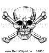 Vector Clip Art of a Retro Black Jolly Roger Skull and Crossbones by AtStockIllustration