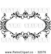 Vector Clip Art of a Retro Black Ornate Floral Frame by AtStockIllustration