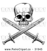 Vector Clip Art of a Retro Black Pirate Skull over Cross Swords by AtStockIllustration