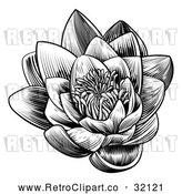 Vector Clip Art of a Retro Blooming Waterlily Lotus Flower in Black Lineart by AtStockIllustration
