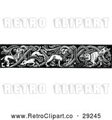 Vector Clip Art of a Retro Border of Wild Dogs by Prawny Vintage